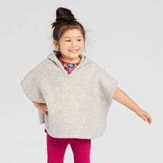 Toddler Girls' Poncho Sweater - Genuine Kids from OshKosh Heather Gray 12M, Size: 12 M