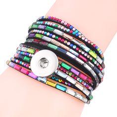 6 colors 2017 new arrival women's multi-layer crystal rivet leather 18/20mm metal snaps button bracelet DIY jewelry 41 cm ZE188