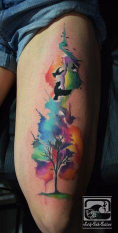 Watercolour Tattoo, aquarell Tattoo, watercolor Tattoo, Ted Bartnik,Surf-Ink-Tattoo