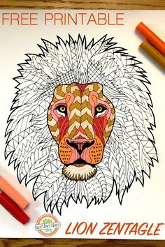 The king of the jungle gets the royal treatment in this Lion Zentangle Coloring Page. This adult coloring page uses the zentangle method to create intricate and highly detailed patterns that join together to create an outstanding portrait of a lion. Toddler Coloring Book, Adult Coloring Book Pages, Animal Coloring Pages, Printable Coloring Pages, Coloring For Kids, Coloring Pages For Kids, Coloring Books, Lion Craft, Diy Y Manualidades