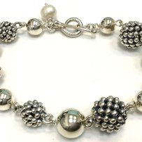 f3c52ac18 Michael Dawkins Michael Dawkins Sterling Silver Bracelet Beads Balls Pearl  8