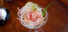 Red Snapper sashimi in glass