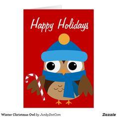 Winter Christmas Owl Card Oct 3 2016 @zazzle #junkydotcom  235