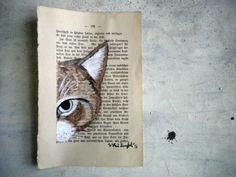 Cat Original painting - Mr Hunter in brown - watercolor and tempera painting on page of antique book. via Etsy. Book Page Art, Book Pages, Book Art, Mix Media, Middle School Art, Altered Art, Altered Books, Art Journal Inspiration, Art Techniques