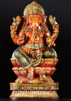 View the Seated Carving Lord Ganesh 36""