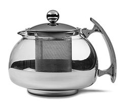 Chef's Star Premium Glass Tea Pot & Infuser - Stainless Steel 25 oz