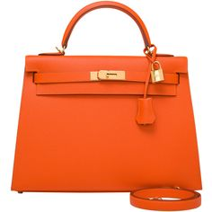 Pre-Owned Hermes Orange H Epsom Kelly Sellier 32cm ($19,000) ❤ liked on Polyvore featuring bags, handbags, orange, colorful handbags, genuine leather purse, multi colored handbags, orange handbags and orange purse