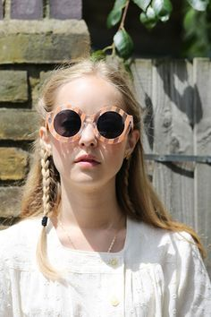 Candy Stripe Sunglasses Coral - THE WHITEPEPPER