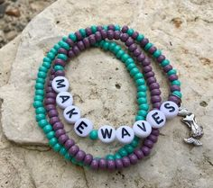 Personalized Beaded Stretch Bracelet-Name Bracelet-Charm Bracelet-Stacking Bracelets-Czech Beads-child-adult-womens-Magical Mermaid-Beach Stacking Bracelets, Beach Bracelets, Stretch Bracelets, Name Bracelet, Bracelet Sizes, Bracelet Making, Metal Jewelry, Beaded Jewelry, Beaded Necklace