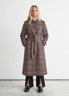 Checkered Wool Coat - Blue Checks - Woolcoats - & Other Stories GB