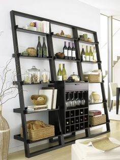 Sloane Espresso Leaning Wine Bar with 2 Bookcases in Dining, Kitchen Storage Wine Bar Cabinet, Wine Cabinets, Wine Hutch, Bookcase Shelves, Leaning Shelves, Bookcases, Crate And Barrel, Kitchen Storage, Home Accessories