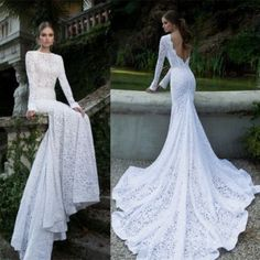 Mermaid Backless Wedding Dresses Bateau Long Sleeves Bridal Weding Gowns New