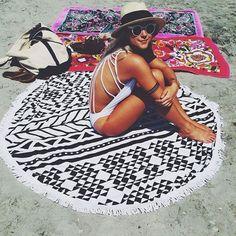 Free Shipping Microfiber Reactive Printed Round Beach Towel With Tassel Serviette De Plage Toalla Playa Beach Swim Towel (00241)