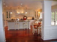 Loving the cabinet colors, floor and backsplash