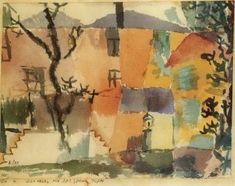 Paul Klee 'Das Haus mit der blauen Tafel' (The House with the Blue Plaque[my own attempt at translation g.s.]) 1914  Watercolor  9 x 11""
