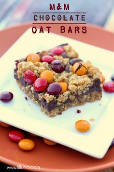 M&M Chocolate Oat Bars!