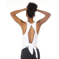 Women's Yoga Racerback Sleeveless Backless Tieback Tank Top
