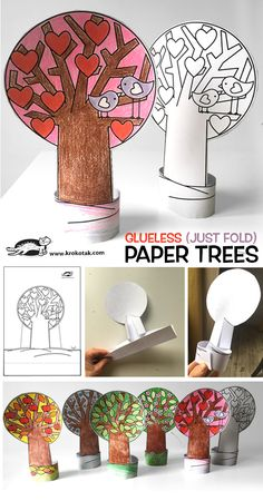 Glueless Paper Trees (Just Fold) Valentine's Day Crafts For Kids, Valentine Crafts For Kids, Easy Arts And Crafts, Toddler Art, Toddler Crafts, Preschool Crafts, Toilet Paper Roll Crafts, Paper Crafts, Diy Crafts