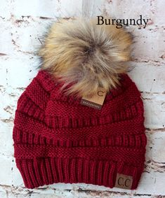 d342d89aa3c A little twist on the popular CC beanie hats - a faux fur pom pom on