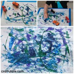 Painting with cars is a fun, creative, and quick craft your car-loving kid can do this winter! Watch as your little one rocks out a cool art piece to hang on the fridge.