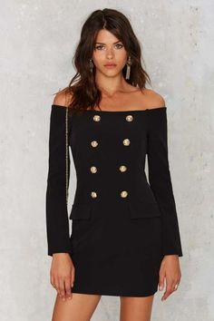 Jackie Off-the-Shoulder Mini Tux Dress - LBD