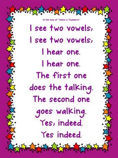 "vowels - I might change the last 2 lines to ""usually"" so students realize there might be rule  breakers."