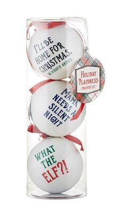 Look at this on our store Funny Sayings Holiday Plaidness Decoupage Ornaments Set of 3 Check it out here! Funny Christmas Ornaments, Christmas Rock, Christmas Balls, Homemade Christmas, Christmas Humor, Christmas Tree, Funny Christmas Quotes, Cricut Christmas Ideas, Christmas Gift Sets