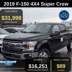 """Stock # 04.03 - 9F1567  $0 down, 17"""" SILVER ALUMN, HEAVY DUTY SHOCKS, KEYLESS ENTRY, SYNC 3, PRE-COLLISION ASSIST AND MORE.   Lease it for $89/week.  Super CREW  300A Group which has:  >4x4 Transmission  >Backup Camera  >Cruise Control  >Automatic headlights  >Alloy Wheels.... Ford Employee, Car Deals, Keyless Entry, Backup Camera, Cruise Control, Car Ford, Alloy Wheel, Ontario, 4x4"""