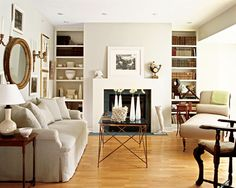 """I like to use some form of white on trim and other millwork throughout a home. My favorite """"white"""" to use for this purpose is my own concoction – a ½ and ½ mixture of Benjamin Moore Linen White and Benjamin Moore White.  I call it """"Half Linen White."""""""