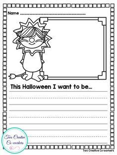 Fall Writing Prompts for Kindergarten or First Grade. Includes prompts for Halloween writing!