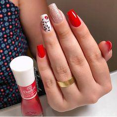 Clique na Foto e Receba + de 200 Ideias Internacionais de Unhas Pintadas. Nails Now, Red Nails, Cute Acrylic Nails, Acrylic Nail Designs, Long Square Nails, Chic Nails, Spring Nail Art, Manicure E Pedicure, Pretty Nail Art