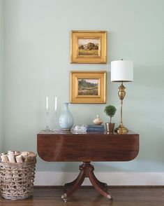 Colors in the blue/green family look fantastic paired with antiques such as this mahogany Pembroke table. - Designer Jennifer Leonard
