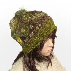 Beanie Hat Freeform Crochet in Olive Green tones Womens OOAK hat beanie by rensfibreart on Etsy