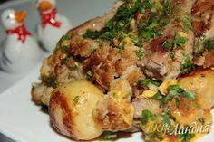 Запеченные молодой картофель, курица и цветная капуста