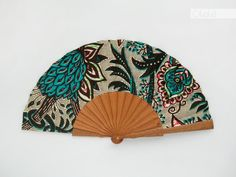 Wooden hand held fan with case - African Baroque print modern ethnic accessory by Olele - Green - hand fan eventail abanico faecher Wooden Staff, Hand Held Fan, Hand Fans, Wooden Hand, Diy Photo, Wood Slats, Baroque, Printing On Fabric, Diys