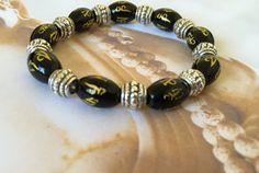 Om Matra healing yoga bracelet black onyx by BeautifulShades