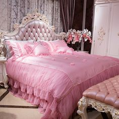 4/6Pcs King queen size princess girls Bedding set luxury royal bed sheet set duvet cover  Lace edge cotton imitate silk fabric