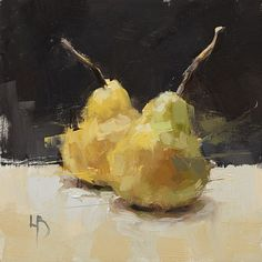 8 x 8″, A Pair of Pears, Oil on board.