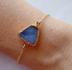 Druzy Bracelet in Brilliant Blue by 443Jewelry on Etsy