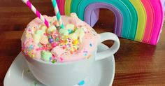 Unicorn hot chocolate is actually a thing!  A sweet shop in California brought this mythical treat to life. And it's totally doable to replicate at home.  Serve it with your take on a unicorn cake (think rainbow layers), unicorn shakes, and unicorn bark (hello lucky charms!) for an amazing party idea.