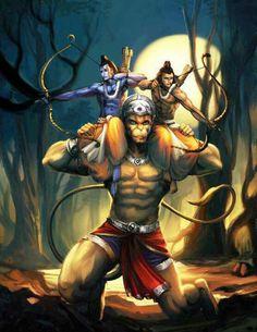 Rama and Laxmana,on the sholder of Hanooman,mythology art from RAMAYAN,oldest and worlds largest EPIC