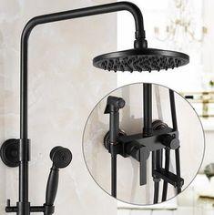 Antique Black Bronze Brass Bathroom Shower Set With Bidet Tap TBS1198