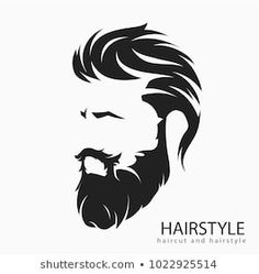 mens hairstyle and hirecut with beard mustache Hipster Drawings, Marvel Drawings, Beard Logo, Beard Tattoo, Barber Logo, Beard Grooming Kits, Beard Art, Boy Illustration, Face Sketch