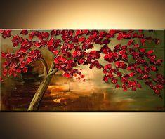 Rote Blüte Landschaftsbaum Malerei Original 48 x von OsnatFineArt