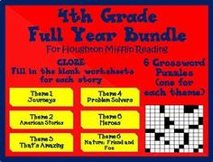 Full Year Cloze Worksheets and Crossword Puzzles for Houghton Mifflin Harcourt 4th Grade
