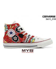 Le Scarpe Personalizzate Converse All Star High tipo Chuck Taylor Alte con motivo Skull Teschio rosso sono stampate in maniera artigianale