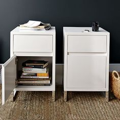 """Hudson Nightstand - White #westelm Face value. A mix of wood and metal gives our Hudson Nightstand a clean, contemporary feel. The spacious top drawer and bottom cabinet allow for plenty of storage and metal legs lighten the look.   •  • 16""""sq. x 25""""h. •white lacquer  • Polished aluminum legs. • Drawer interiors are unstained. • Arrives fully assembled. •"""