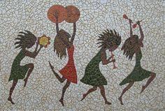 Mosaico com cascas de ovos.