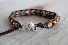 Elephant Bracelet  Leather Beaded Wrap  Boho by theredparachute