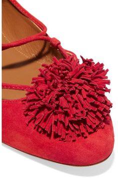 Aquazzura - Sunshine Pompom-embellished Suede Ballet Flats - Red - IT